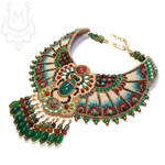 Ancient egyptian style necklace with green scarab by uleana
