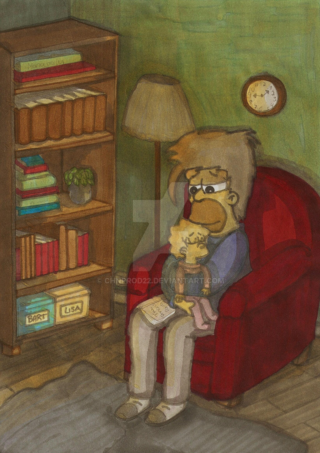 Homer And Lisa - Bedtimestory by ChnProd22