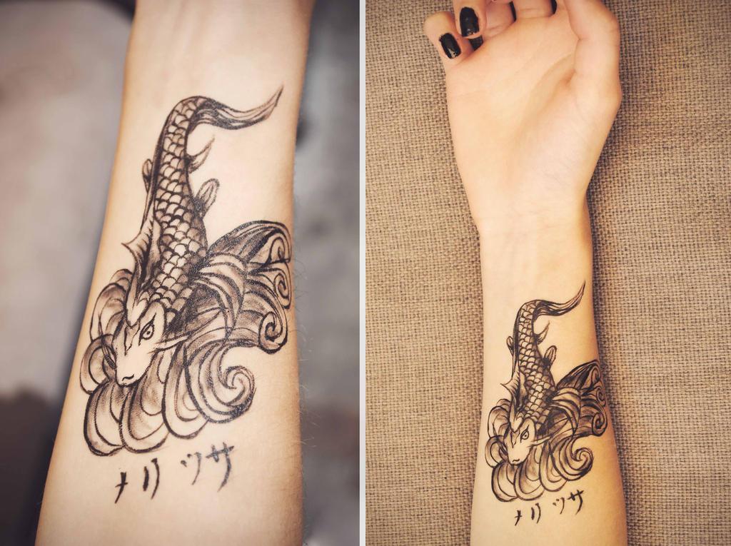 Koi fish fake tattoo by symbolicart95 on deviantart for Fake koi fish