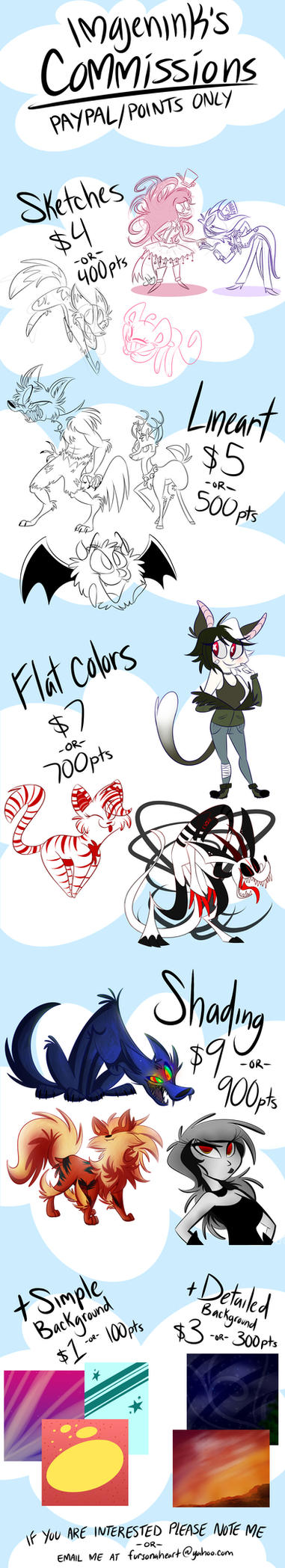 Commissions INFO (OPEN) by imajenink