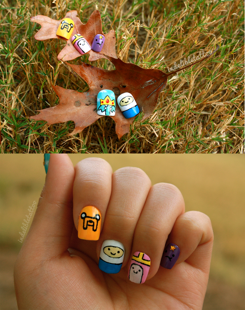 Adventure Time Nails - Nail Art by indelibletattoo on DeviantArt