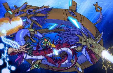 Seadramon evolutions by Noki001