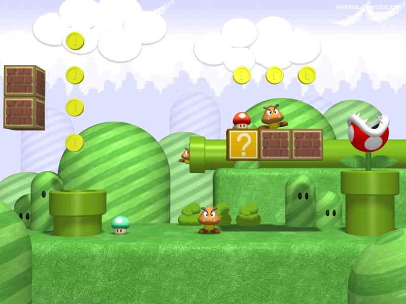 Mushroom Kingdom 3d By Kritter5x On Deviantart