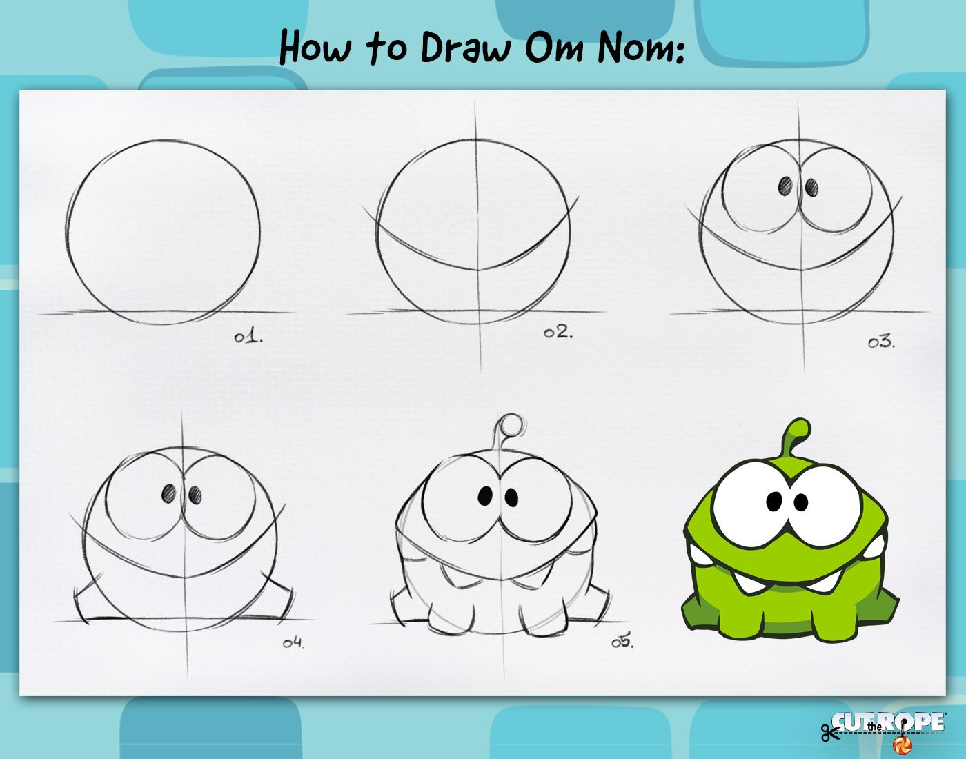How to draw om nom by maksim2d on deviantart for How to draw easy stuff but cute