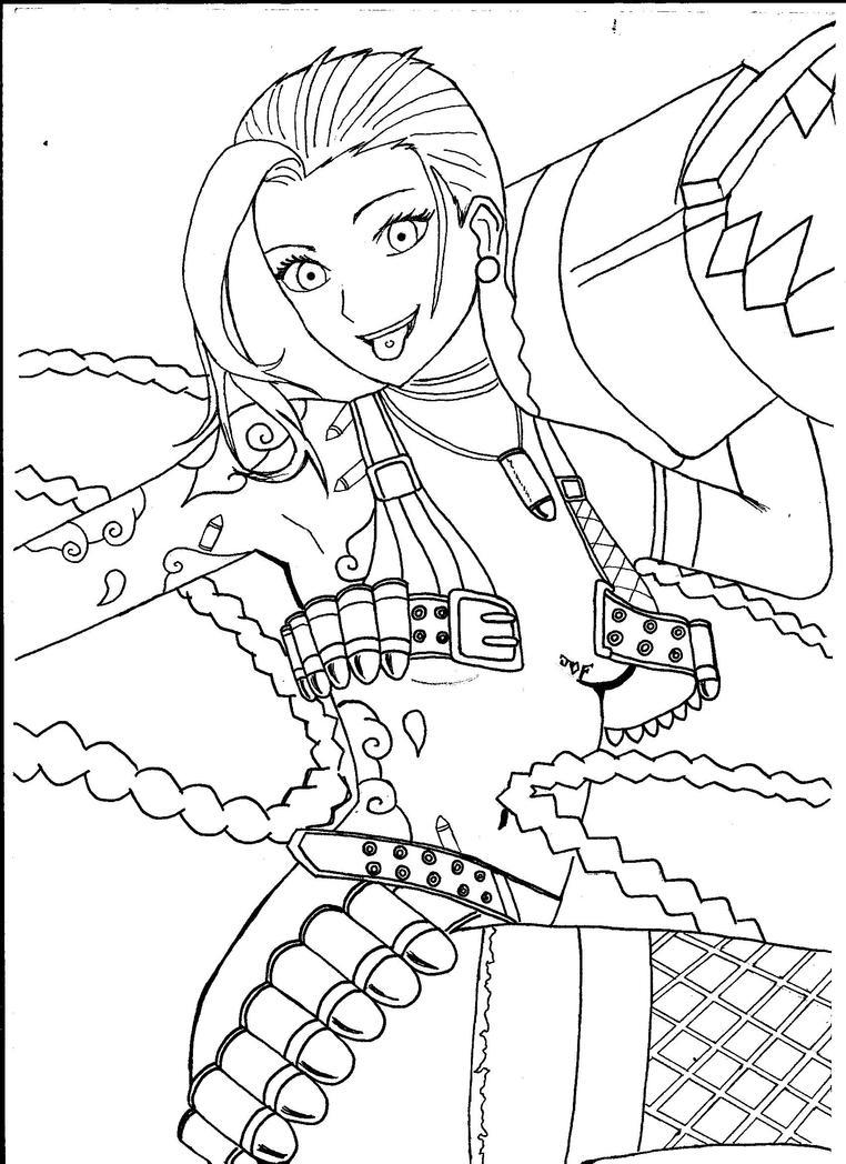 Jinx League Of Legends Coloring Pages Sketch Coloring Page