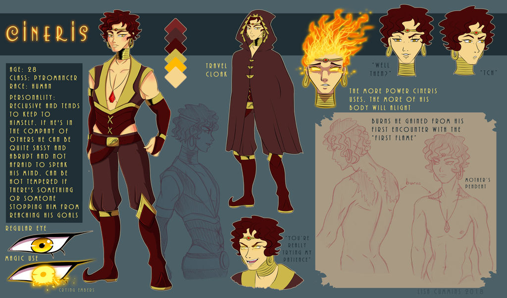 Cineris DnD Character Ref by BaGgY666