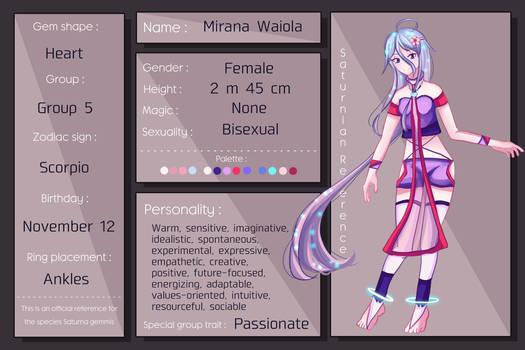 Mirana Waiola Reference Sheet