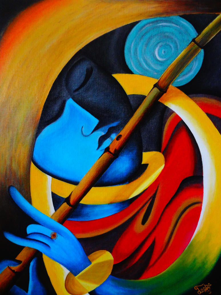Lord krishna harmony of life modern art by for Art moderne sculpture