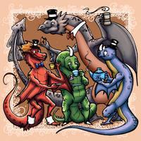 Thar be fancy dragons! by aunjuli