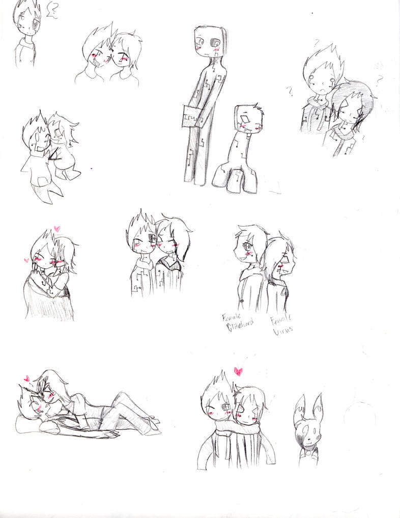Glitchard X Virus Sketches by SparkyChan23