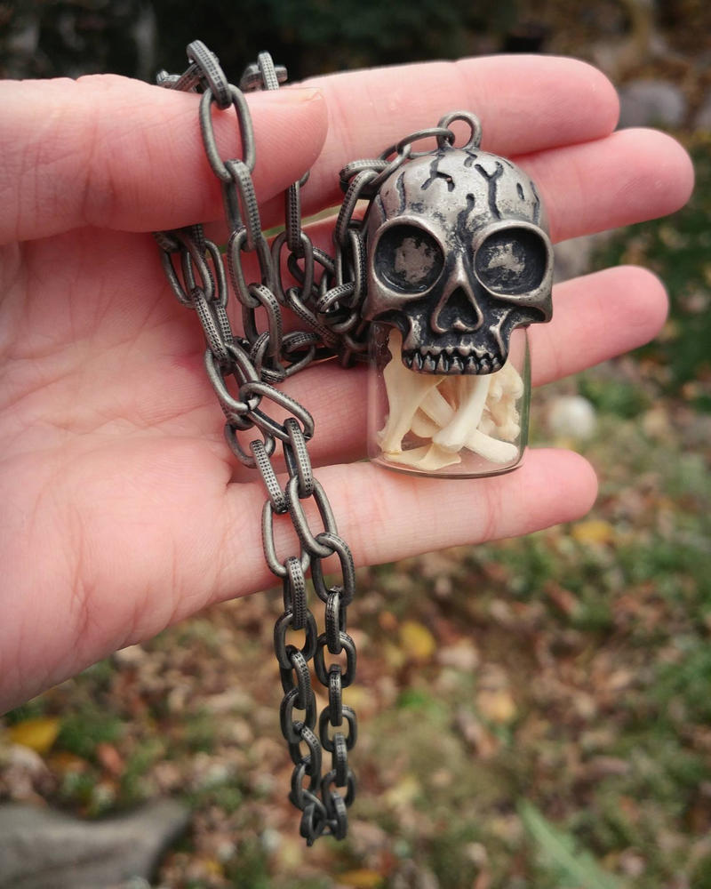Skull and Bones Necklace  by kazscreations