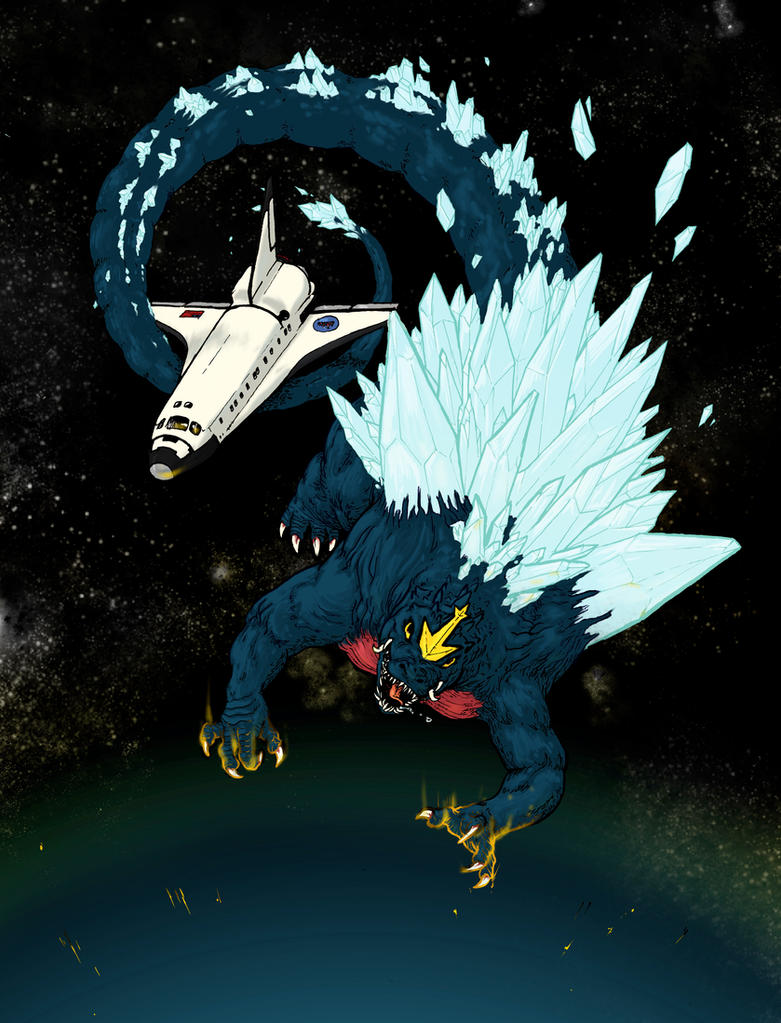 Space Godzilla Descends by boper9