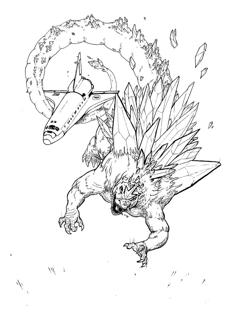 Line Art Universe : Space godzilla descends line art by boper on deviantart