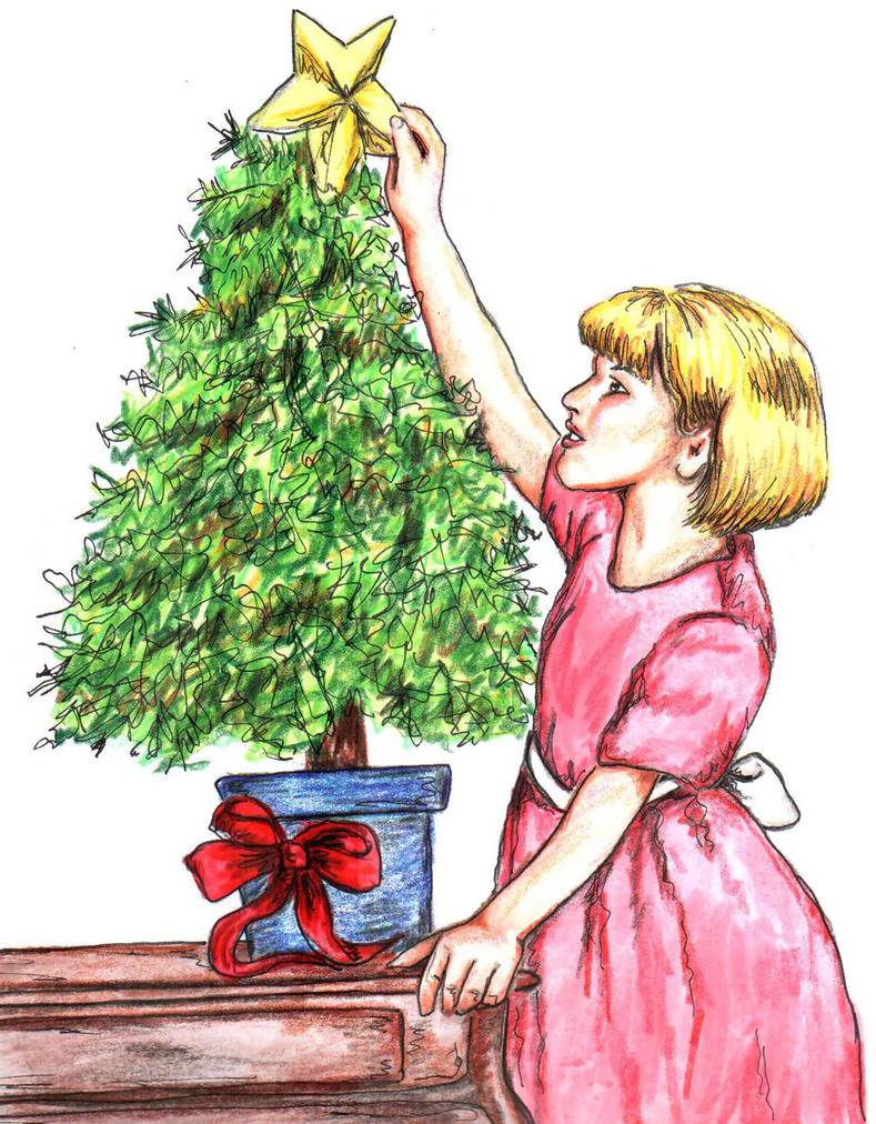 Girl decorating christmas tree by hojt tonte for Tonte