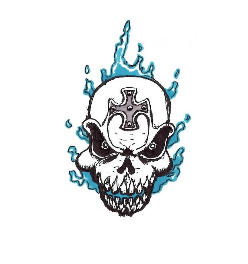 Displaying 14&gt Images For  Flaming Skull Drawings Tattoos
