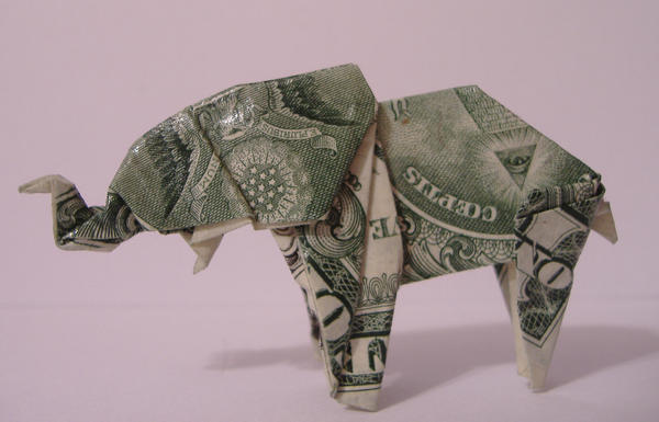 Money Origami ELEPHANT Right Side Folded With Real FIVE Dollar ... | 385x600