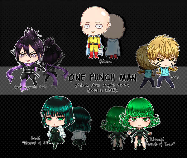 One Punch Man Acrylic Charms by silverlynx69
