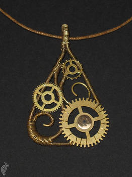 Wire and Cogs pendant