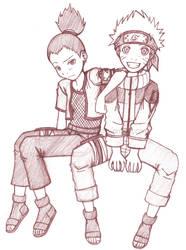 Shikamaru and Naruto by mellie-chan