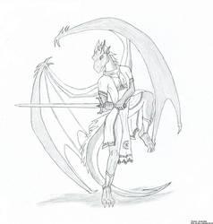 Nova the half-dragon - sketch by Tempestdrg