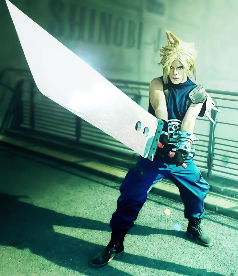 Cloud Strife cosplay, edited photo by Paxfield