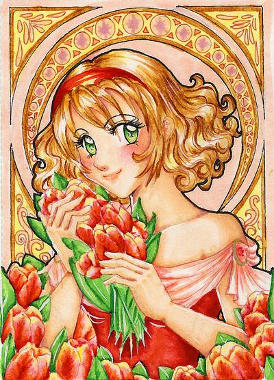 ACEO 29 Tulip art nouveau by ann-chan20