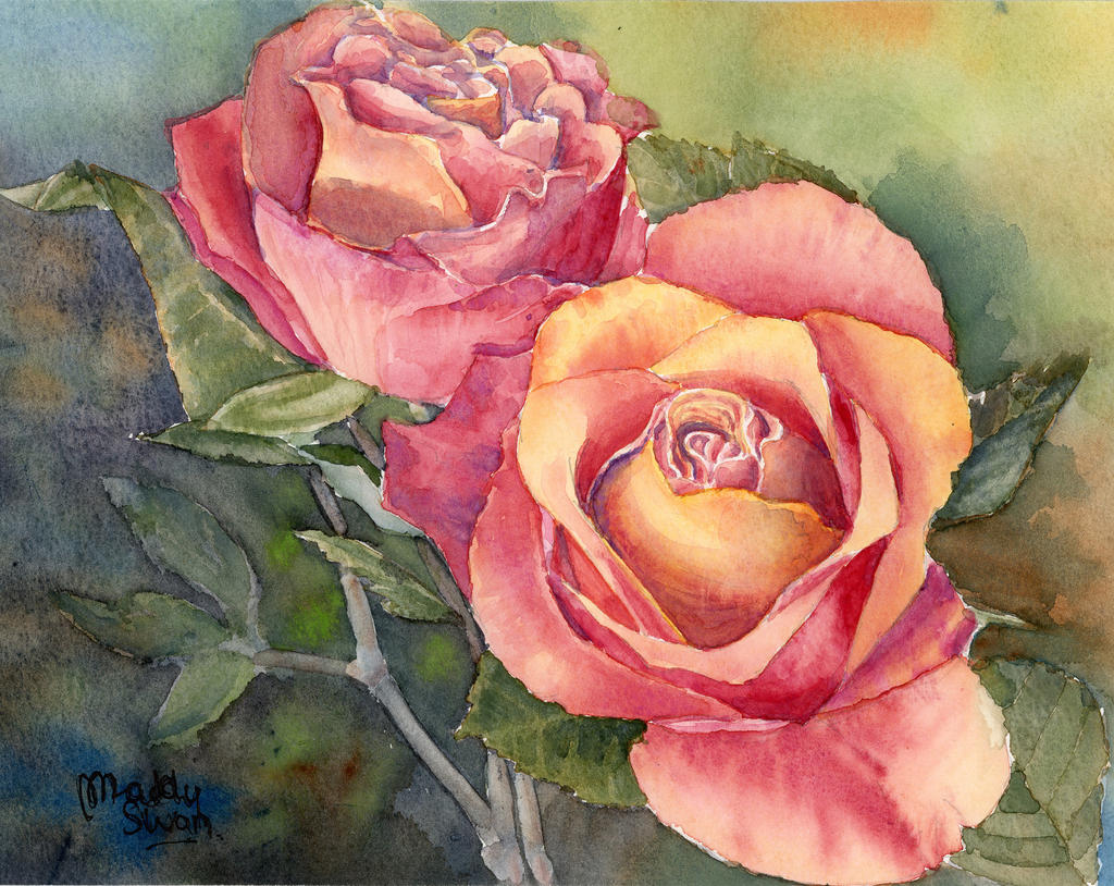Red roses original watercolour painting by maddyswan on for How to paint a rose in watercolour