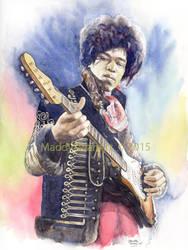 Jimi Hendrix, watercolour