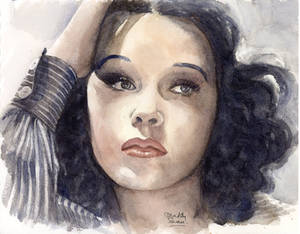 Hedy Lamarr, watercolour - see my YouTube video