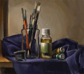 Still life with oil paint tube