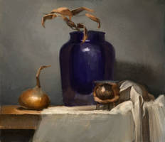 Blue vase on a gray background by Emil-K