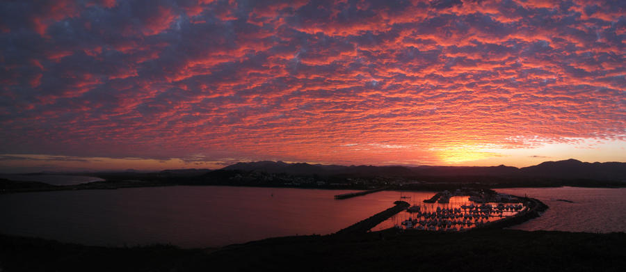 Sunset Harbour Pano by shear-atmos-fear