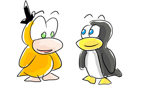 Psyduck and Tux