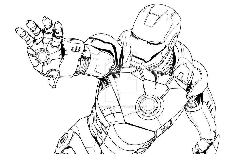 Iron Man Mark VII Lineart By Tau Omicron Mu