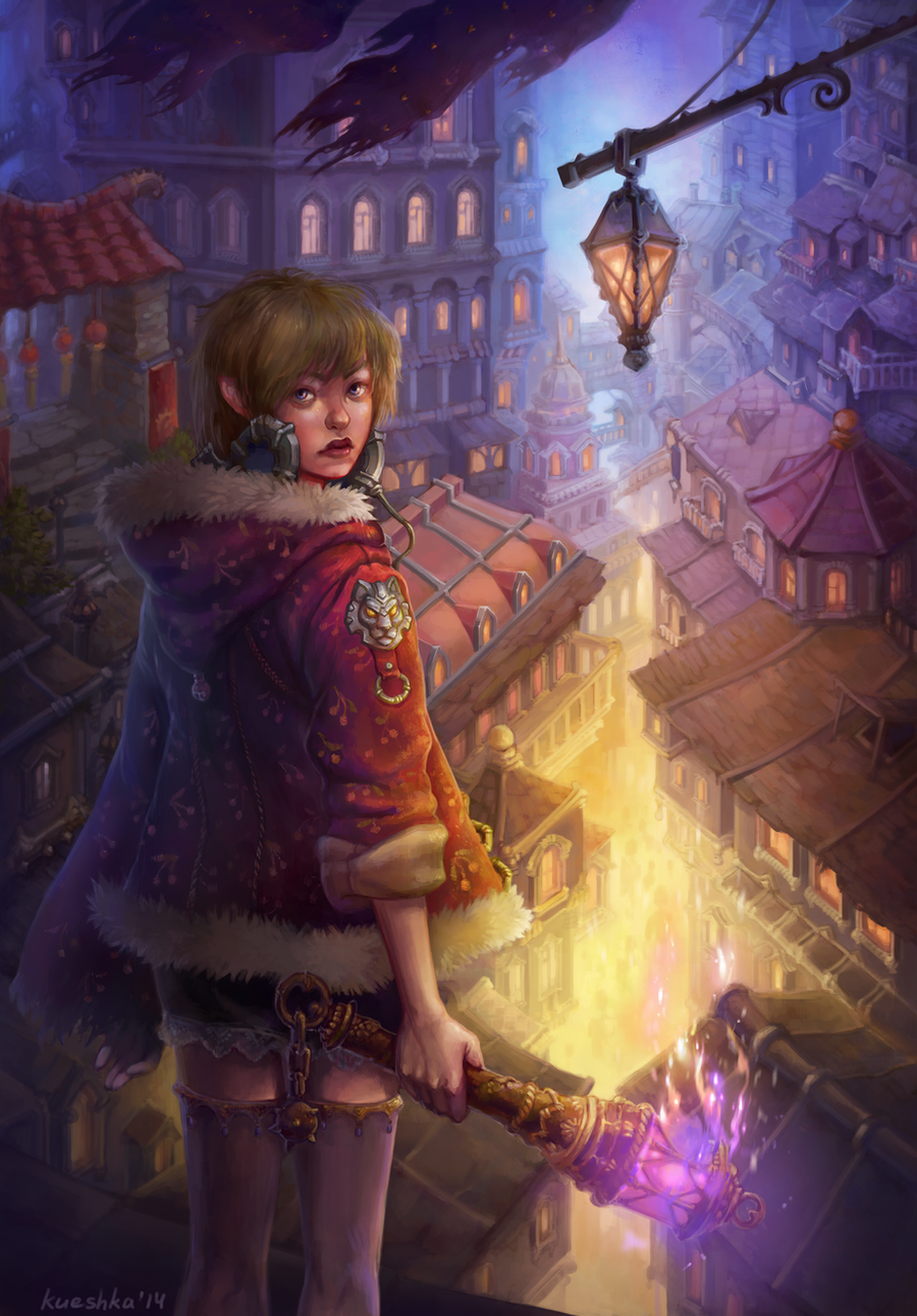 Girl with a torch by Uruno-Morlith