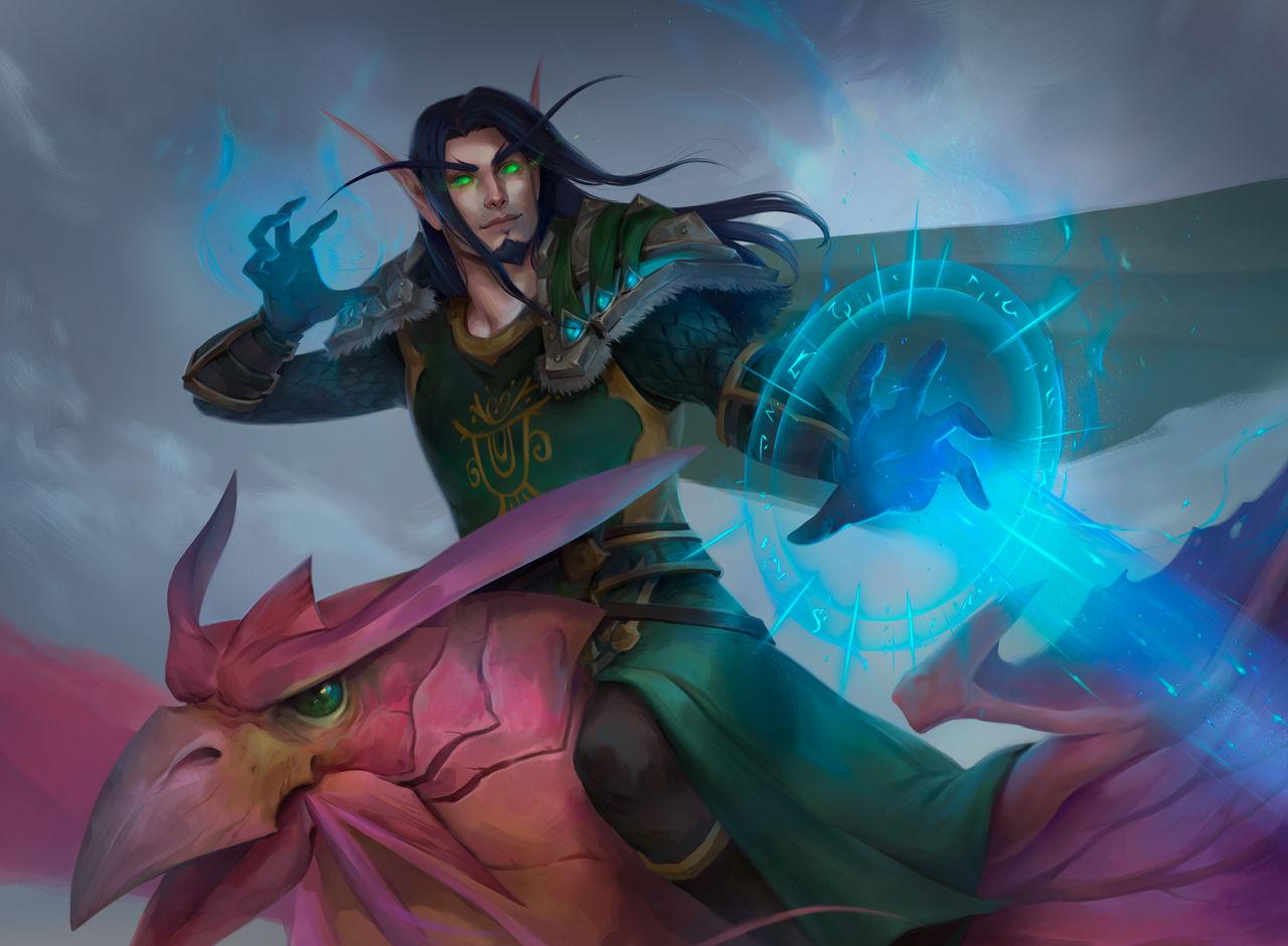 Vaelath Ashleaf with Dragonhawk (WoW commission)
