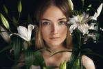Portrait with lilies