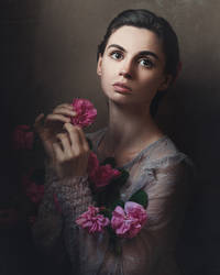 Self portrait with roses II by MariaBabintseva