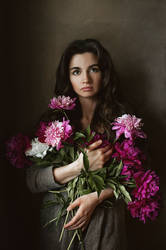 Self portrait with peonies