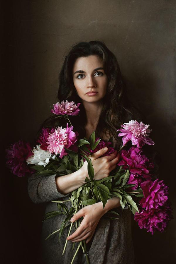 Self portrait with peonies by MariaBabintseva