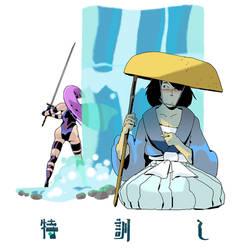 Ishikawa Goemon XIII and Psylocke by AnthonyHolden