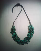 Turquoise knitted necklace by Aerusss