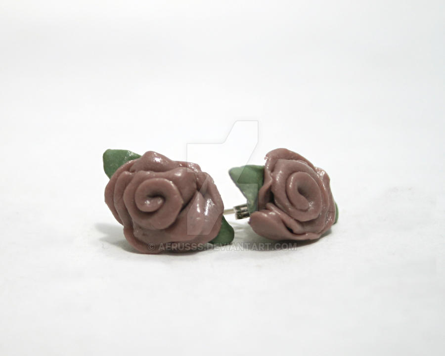 lavender rose studs by Aerusss