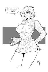 Commission - Power Girl's New Sweater by figlesiase