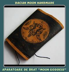 Moon Goddess leather bracer by NessaSilverwolf