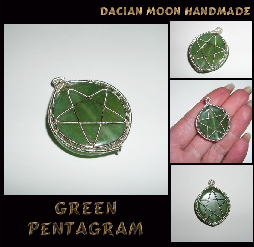 Green Pentagram by NessaSilverwolf