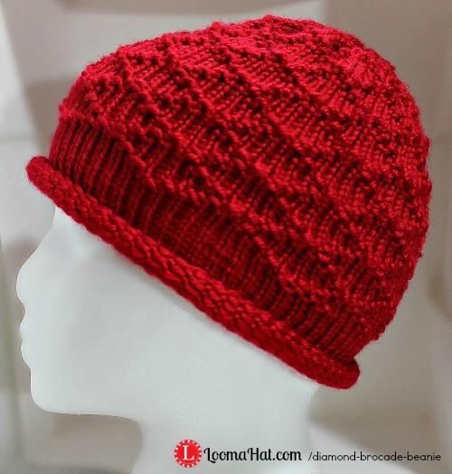 Knit A Beanie Pattern : Loom Knit Hat - The Diamond Brocade Beanie by LoomaHat on DeviantArt
