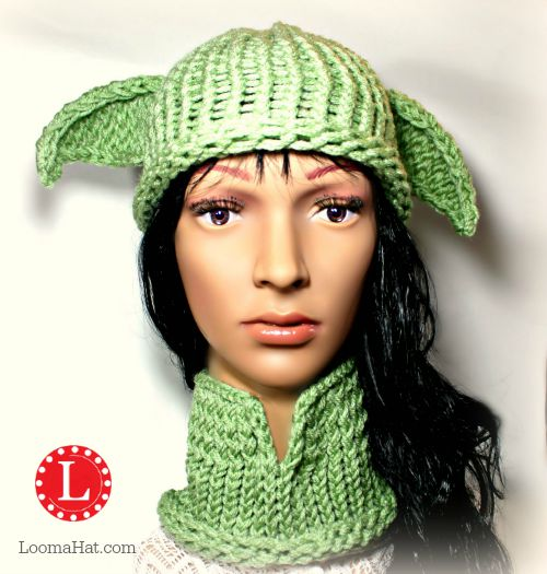 Knitting Pattern For Yoda Hat : Loom Knit Yoda Hat and Cowl by LoomaHat on DeviantArt