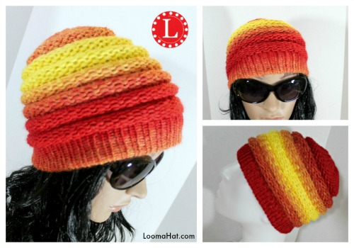 Loom Knit Ombre Beanie Pattern by LoomaHat