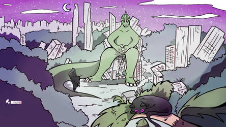Godzilla destroyed city Commission by Cipple